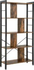 Acaza Boekenkast - Industriële Look - Hout/Metaal -74x30x155cm - Zwart/Bruin