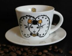 Petit Paris Illustraties Koffiekop en schotel - Zeeuws meisje - Saartje - zwart wit - 180ml