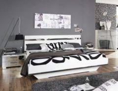 Rauch-SELECT Bett 180 x 200 cm mit Nako-Set weiss hochglanz/ Spiegel RAUCH SELECT Denia