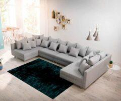 DELIFE Bank Clovis XL Grijs vlak geweven modulair woonlandschap