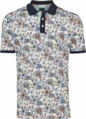 Tresanti Heren Poloshirt Wit Bloem Print Piqué Regular Fit - S