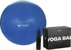 Rockerz Fitness Fitness bal - Yoga bal - Fitness bal 75 cm - Pilates bal - Gymbal - Gymbal 75 cm - Zitbal - Zwangerschapsbal - Kleur: Blauw - Beste Fitnessbal 2020