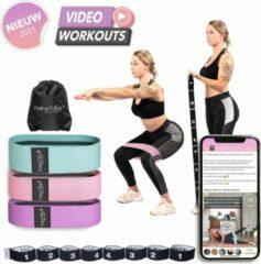Roze Positive Things - Resistance Bands set van 4 - Full body fitness elastieken - Bootybands - Weerstandsband