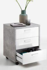 Grijze FD Furniture Ladeblok Brick 60 cm hoog - Beton grijs met hoogglans wit