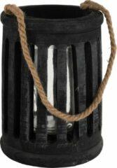 J-Line Lantaarn Cilinder Paulownia/Touw Zwart