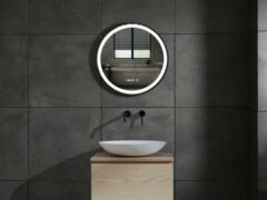 Zwarte Mawialux LED spiegel   40cm   Rond   Verwarming   Digitale klok   ML-40LS-R