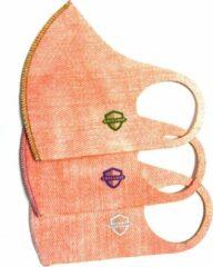 SafeSave kinderen denim jeans modieuze mondkapje- Herbruikbaar en wasbaar design mondkapjes - 100% neopreen stoffen masker- niet medisch mondmasker-Ov/school verplicht unisex kinderen/jongeren 9 tot 14 jaar gezichtsmasker-3 stuks verpakt-Roze