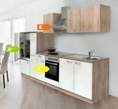 Respekta kitchen economy Respekta Küchenzeile KB300ESWCOES 300 cm Weiß-Eiche Sägerau Nachbildung