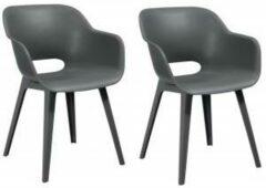 Antraciet-grijze Allibert - Akola - Eettafel stoel - 2-stuks - Kunststof - Grafiet
