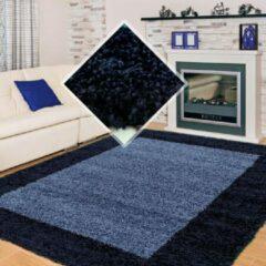Modica Tappeto Hoogpolig Vloerkleed Candy Shaggy Marineblauw Lijstmotief 120 X 170 Cm