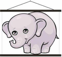 TextilePosters Een cartoon illustratie van een baby olifant schoolplaat platte latten zwart 60x45 cm - Foto print op textielposter (wanddecoratie woonkamer/slaapkamer)