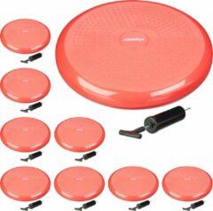 Relaxdays 9x wiebelkussen - balkussen - balanskussen - balansbord - 33cm rood luchtpomp