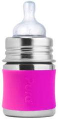 Zilveren Pura Kiki speenfles 150 ml inclusief roze sleeve en reisdop