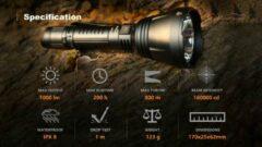 Zwarte Magicshine Hunting Flashlight MTL60B - 1000 Lumen - Waterproof IPX8 - 800M Beam Distance - Bluetooth