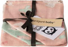 Briljant Baby Lama Hydrofiel Washandje Roze / Groen 3 Stuks