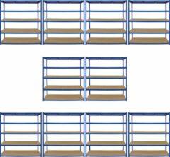 Blauwe Monster Racking 10 x Garage Racking Shelving Unit / 5 Tier 1600mm Wide x 600mm Deep / Steel & MDF Shelves