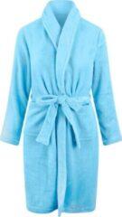 Relax Company Kinderbadjas -lichtblauw - fleece - meisjes & jongens - ochtendjas- maat 122/128