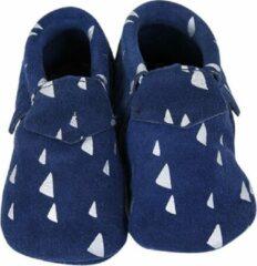 Lait et Miel - Babyslofjes - Leer - 6-12 maanden - Blauw Wit