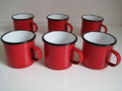 Zevenburgen Emaille mokken rood - 400 ml - set van 6