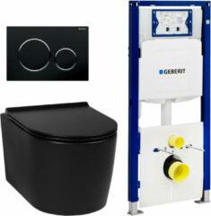 Saniselect Nero compact rimless mat zwart / Geberit UP320 set