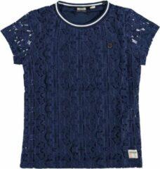 Indian blue jeans blauw gevoerd kanten shirt meisje - Maat 152