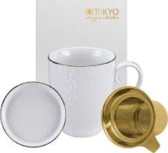 Witte Tokyo Design Studio Nippon White Theemok Set. Inclusief Theefilter en Teatip. In fraai Geschenkdoosje.