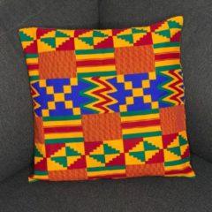 Afabs Afrikaans kussen | Rood gele kente - Sierkussen 45x45 - 100% Katoen | Sierkussens 45x45 Kussenhoes | Binnenkussen 45 x 45 | Tribal kussen | African pillow