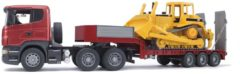 Rode Bruder 03555 - Scania R-serie dieplader met Caterpillar bulldozer - Vrachtwagen