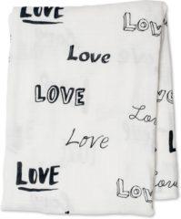 Witte Lulujo Swaddle bamboo 120x120 - Love Multidoek met love print 120x120