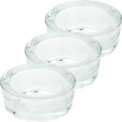 Transparante Trend Candles 3x Maxi theelichthouders/waxinelichthouders van glas 6 x 3 cm - Glazen kaarsenhouders voor maxi theelichten - Woondecoraties