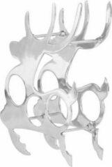 VidaXL Wijnrek rendiervorm 33x14x54 cm massief aluminium zilverkleurig