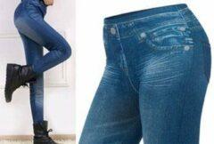 Merkloos / Sans marque Slim jeans legging - blauw - maat L/XL