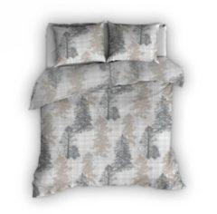 Romanette Lapponia - Flanel - Dekbedovertrek - Tweepersoons - 200x200/220 cm + 2 kussenslopen 60x70 cm - Beige/Grijs