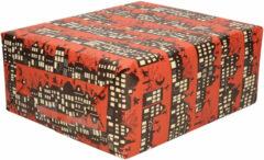 Bellatio Decorations 1x Rollen Sinterklaas kadopapier print donkerrood 2,5 x 0,7 meter op rol 70 grams - Luxe papier kwaliteit cadeaupapier/inpakpapier - Sint en Piet