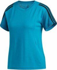 Blauwgroene Adidas 3S Mesh Slv T Dames Shirt - Active Teal - Maat XS