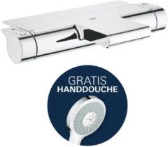 Douche Concurrent Badkraan Grohtherm 2000 Cool Touch 15cm Hartafstand Thermostatisch Opbouw Rond Chroom 2 Greeps met Planchet