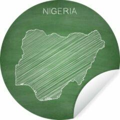 WallCircle Wandcirkel Nigeria illustratie - Illustratie van Nigeria op een groen schoolbord - ⌀ 140 cm - rond schilderij - behangcirkel - muurcirkel - wooncirkel - zelfklevend & rond uitgesneden
