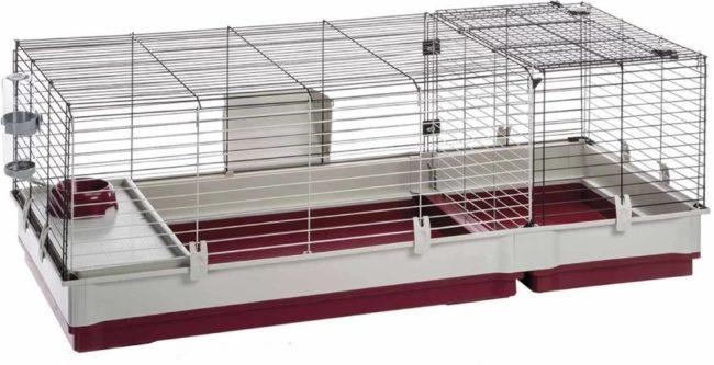 Afbeelding van Rode Ferplast konijnenkooi krolik 140 wit / bordeaux 142x60x50 cm