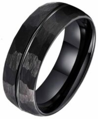 Tom Jaxon wolfraam Ring Facet Groef Mat Zwart-20mm