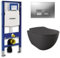 Douche Concurrent Geberit UP 100 toiletset - Inbouw WC Wandcloset - Creavit Mat Antraciet Rimfree Geberit Delta-50 Mat Chroom