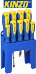 Blauwe Kinzo Schroevendraaierset + Houder 9-delig Magnetisch
