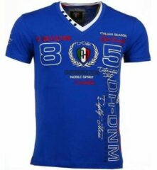 David Copper Italiaanse T-shirt - Korte Mouwen Heren - Borduur Automobile Club - Blauw Heren T-shirt XL