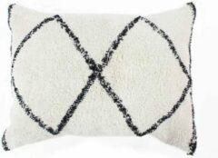 Anders Berber Box kussen - 60 x 80 cm - natuurlijk wit en zwart