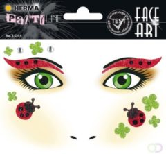Rode Herma Face Art Glitter Sticker Lieveheersbeestje