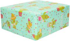 Shoppartners 1x Rollen Inpakpapier mint groen cactussen / happy birthday design - 70 x 200 cm - kadopapier / cadeaupapier