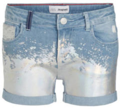 Blauwe Desigual jeans short met printopdruk light denim/zilver