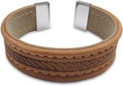 CO88 Collection 8CB-19002 - Lederen bangle met staal elementen - touw patroon - one-size - beige / taupe / zilverkleurig