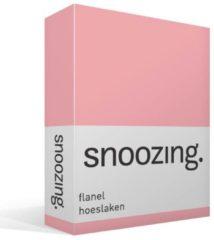 Snoozing flanel hoeslaken - 100% geruwde flanel-katoen - Lits-jumeaux (200x210/220 cm) - Roze