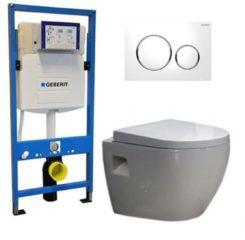 Douche Concurrent Geberit UP 320 Toiletset - Inbouw WC Hangtoilet Wandcloset - Daley Sigma-20 Wit