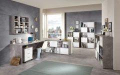 Büromöbel Beton Light Atelier/ Hochglanz weiss mit Schreibtisch, Container und Regalen FMD Brady/ Futura/ Mika